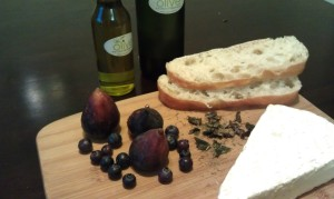 Oilve Oil, Aged Balsamic, Brie, Figs, and Blueberries